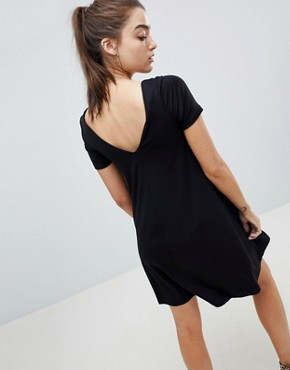 photo Ruched Front Swing Dress by ASOS DESIGN, color Black - Image 2