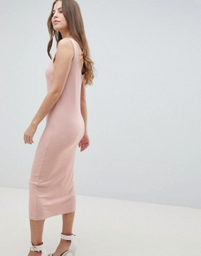 photo V-Detail Rib Column Midi Dress by ASOS DESIGN, color Nude - Image 2