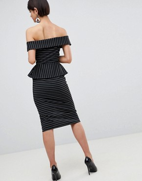 photo Bardot Pencil Dress with Peplum and Zip Detail in Pinstripe by ASOS DESIGN, color Pinstripe - Image 2