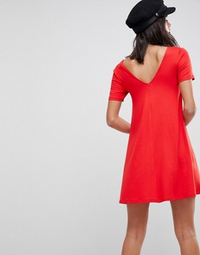 photo Ruched Front Swing Dress by ASOS DESIGN, color Red - Image 2
