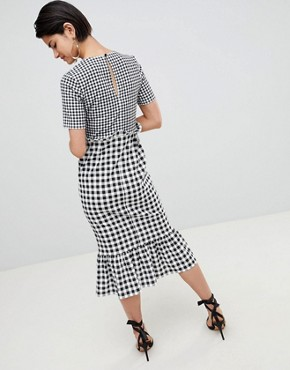 photo Midi Dress with Pep Hem in Contrast Check by ASOS DESIGN, color Check Print - Image 2