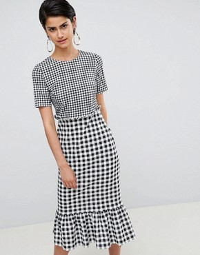 photo Midi Dress with Pep Hem in Contrast Check by ASOS DESIGN, color Check Print - Image 1