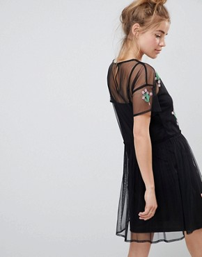 photo Mesh Smock Dress with Cactus Applique by ASOS DESIGN, color Black - Image 2