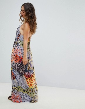 photo Multi Snake Print Lattice Detail Beach Maxi Dress by ASOS DESIGN, color Multi Snake Print - Image 2