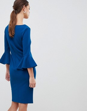 photo Sweetheart Neckline Midi Dress with Bell Sleeves by City Goddess, color Blue - Image 2