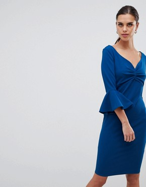 photo Sweetheart Neckline Midi Dress with Bell Sleeves by City Goddess, color Blue - Image 1