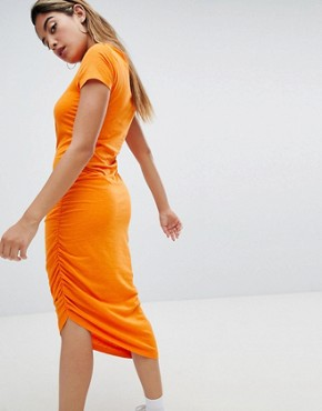 photo Asymmetric Jersey Dress by Noisy May, color Orange - Image 2