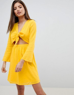 photo Cut Out Mini Dress by Noisy May, color Yellow - Image 1