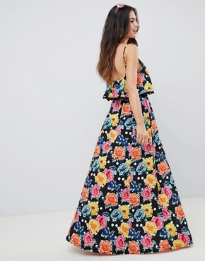 photo Mixed Spot Floral Double Layer Maxi Dress with Pom Pom Trim by ASOS DESIGN, color Mixed Spot Floral - Image 2