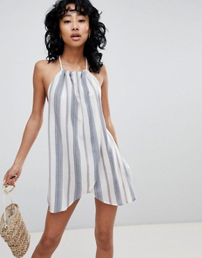 photo Stripe Rope Tie Layered Beach Dress by ASOS DESIGN, color Stripe - Image 1