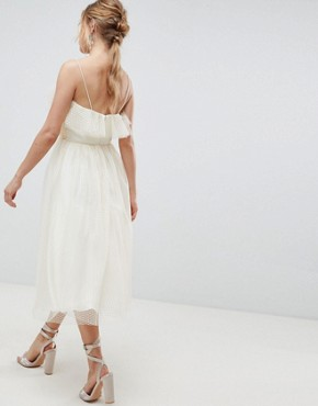 photo Midi Dobby Tulle Prom Dress with Ruffle Bodice by ASOS DESIGN, color Ivory - Image 2