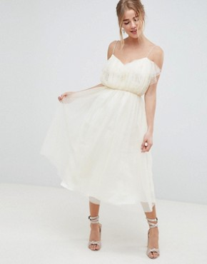 photo Midi Dobby Tulle Prom Dress with Ruffle Bodice by ASOS DESIGN, color Ivory - Image 1