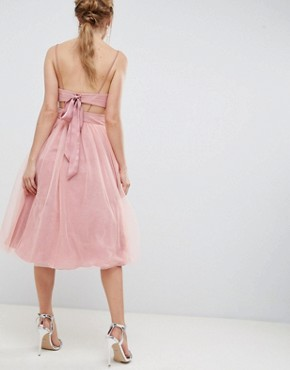 photo Midi Tulle Prom Dress with Cut Out Sides and Bow by ASOS DESIGN, color Pink - Image 2