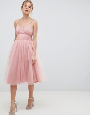 photo Midi Tulle Prom Dress with Cut Out Sides and Bow by ASOS DESIGN, color Pink - Image 1