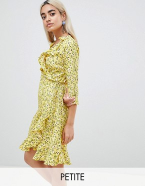 photo Floral Wrap Dress by Vero Moda Petite, color Cream Gold - Image 1