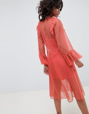 photo Flute Sleeve Midi Dress in Sheer Dobby Mesh by ASOS DESIGN, color Rust - Image 2