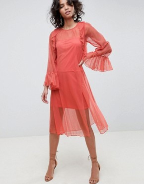 photo Flute Sleeve Midi Dress in Sheer Dobby Mesh by ASOS DESIGN, color Rust - Image 1