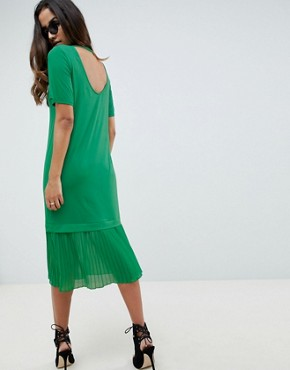 photo Midi t-shirt Dress with Pleated Hem by ASOS DESIGN, color Bright Green - Image 2