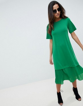 photo Midi t-shirt Dress with Pleated Hem by ASOS DESIGN, color Bright Green - Image 1