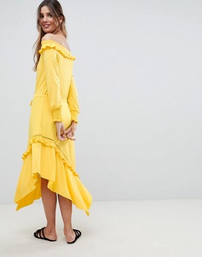 photo Off Shoulder Shirred Cuff Midi Tea Dress by ASOS DESIGN, color Yellow - Image 2