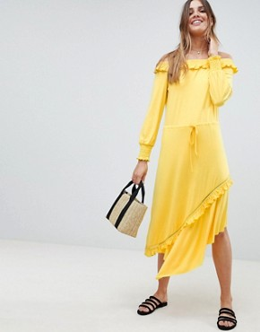 photo Off Shoulder Shirred Cuff Midi Tea Dress by ASOS DESIGN, color Yellow - Image 1