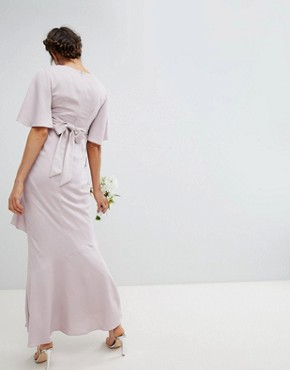 photo Maternity Bridesmaid Ruffle Flutter Sleeve Maxi Dress with Embellished Belt by ASOS DESIGN, color Mink - Image 2