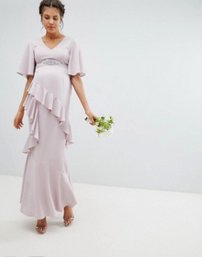 photo Maternity Bridesmaid Ruffle Flutter Sleeve Maxi Dress with Embellished Belt by ASOS DESIGN, color Mink - Image 1