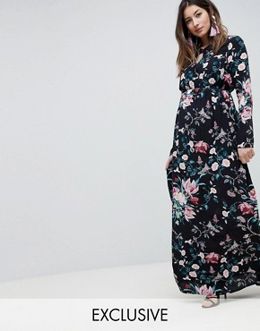 photo Maternity Long Sleeve Printed Maxi Dress by ASOS DESIGN, color Multi - Image 1