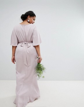 photo Bridesmaid Ruffle Flutter Sleeve Maxi Dress with Embellished Belt by ASOS DESIGN Curve, color Mink - Image 2