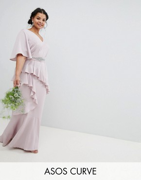 photo Bridesmaid Ruffle Flutter Sleeve Maxi Dress with Embellished Belt by ASOS DESIGN Curve, color Mink - Image 1