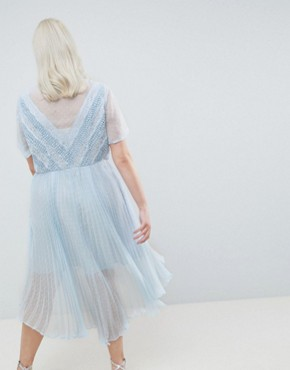 photo Shirt Dress in Dobby Lace by ASOS DESIGN Curve, color Blue - Image 2