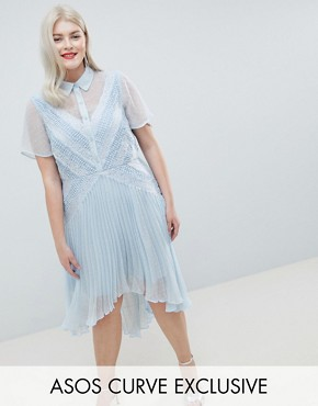 photo Shirt Dress in Dobby Lace by ASOS DESIGN Curve, color Blue - Image 1
