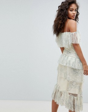 photo Delicate Lace Cold Shoulder Midi Dress with Ruffles by ASOS DESIGN Tall, color Multi - Image 2