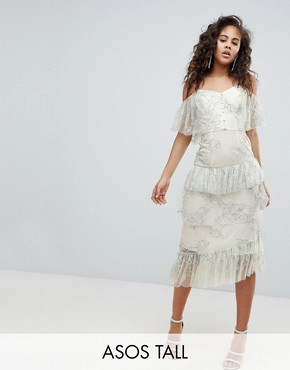 photo Delicate Lace Cold Shoulder Midi Dress with Ruffles by ASOS DESIGN Tall, color Multi - Image 1