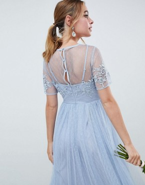 photo Bridesmaid Lace and Dobby Mesh Overlay Maxi Dress by ASOS DESIGN Petite, color Blue - Image 2