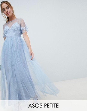 photo Bridesmaid Lace and Dobby Mesh Overlay Maxi Dress by ASOS DESIGN Petite, color Blue - Image 1