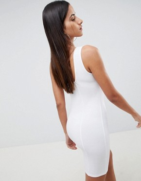 photo Square Neck Mini Bodycon Dress by ASOS DESIGN, color White - Image 2