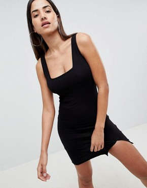photo Square Neck Mini Bodycon Dress by ASOS DESIGN, color Black - Image 1