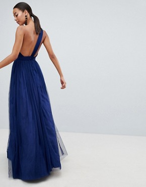 photo Premium Tulle One Shoulder Maxi Dress by ASOS DESIGN Tall, color Navy - Image 2