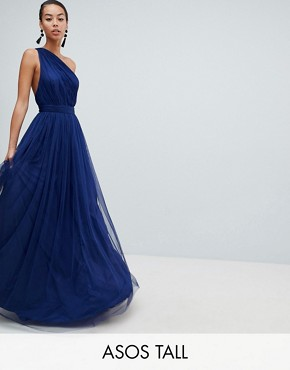 photo Premium Tulle One Shoulder Maxi Dress by ASOS DESIGN Tall, color Navy - Image 1