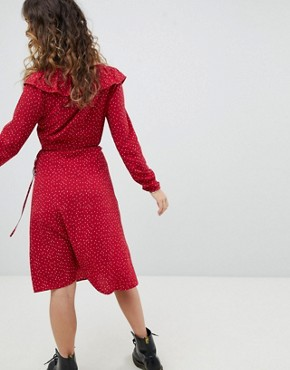 photo Wrap Dress in Polka Dot by Sacred Hawk, color Red - Image 2