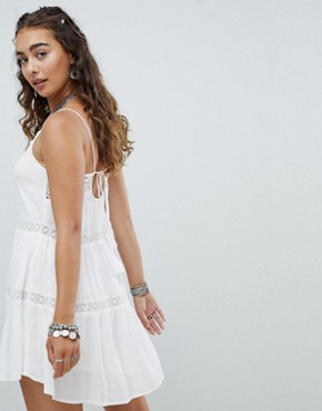 photo Cami Dress with Crochet Insert and Tassel Ties by En Creme, color White - Image 2