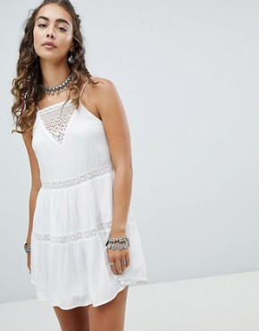 photo Cami Dress with Crochet Insert and Tassel Ties by En Creme, color White - Image 1