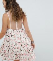 photo Mini Swing Dress with Sheer Mesh Back in Ditsy Floral by En Creme, color White Floral - Image 2