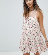 photo Mini Swing Dress with Sheer Mesh Back in Ditsy Floral by En Creme, color White Floral - Image 1