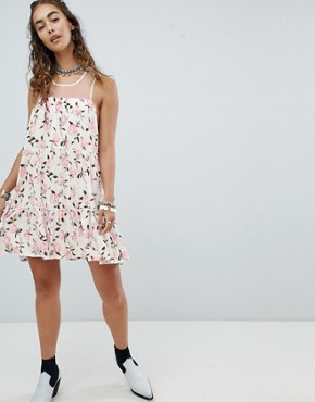 photo Mini Swing Dress with Sheer Mesh Back in Ditsy Floral by En Creme, color White Floral - Image 4