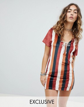 photo Polo Shirt Dress in Velvet Stripe by Sacred Hawk, color Multi - Image 1