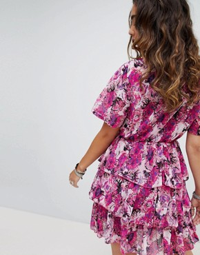 photo Tea Dress with Ruffles in Floral Print by Sacred Hawk, color Pink - Image 2