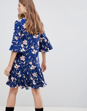 photo Floral Drop Waist Dress by Vila, color Estate Blue - Image 2