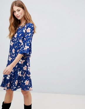 photo Floral Drop Waist Dress by Vila, color Estate Blue - Image 1